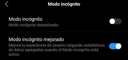 Modo Incognito Navegador Xiaomi