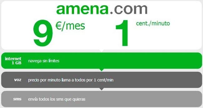 Amena lanza un órdago: llamadas a un céntimo por minuto, 1 Gb y 1000 SMS por nueve euros al mes