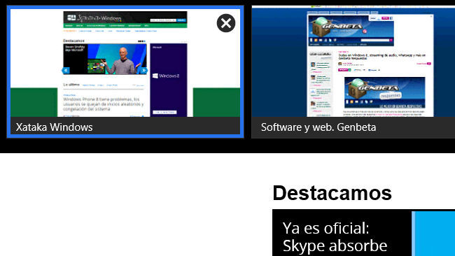 Internet Explorer 10 con interfaz modern UI, pestañas
