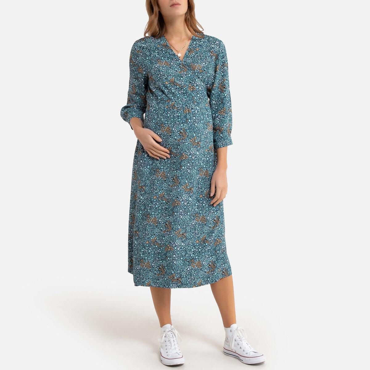 Vestido de embarazo largo, de manga larga y estampado