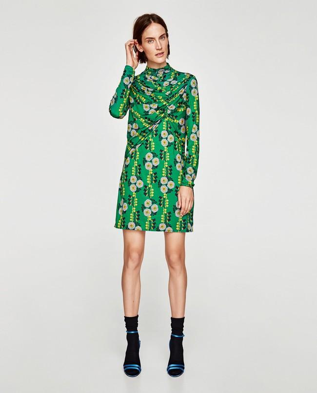 vestido verde drapeado zara