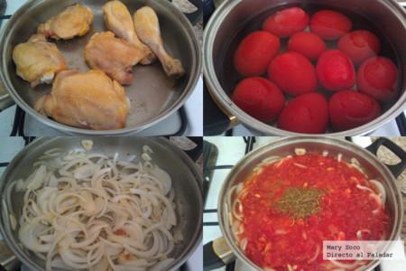 Pollo en salsa de jitomate y orégano