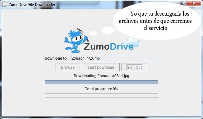 Descarga tus archivos de ZumoDrive que cerrará finalmente el 1 de Junio