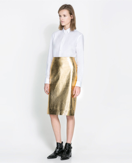 falda de zara de color dorado