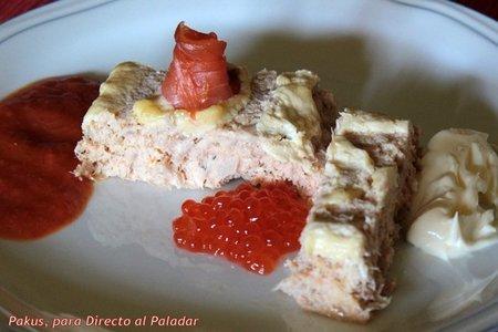 Pastel de atún en conserva y salmón. Receta
