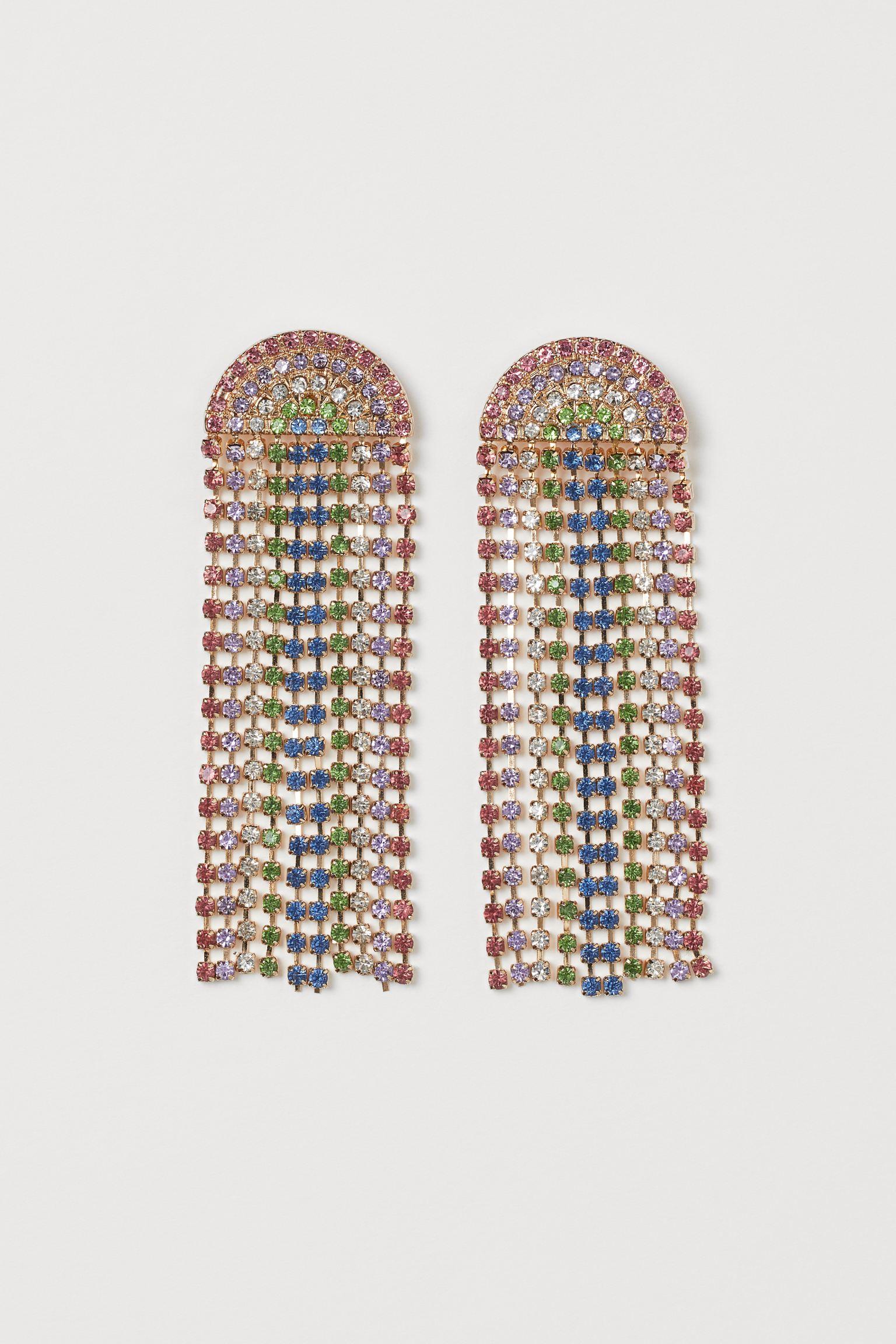 Pendientes arcoíris con cascada de cristales
