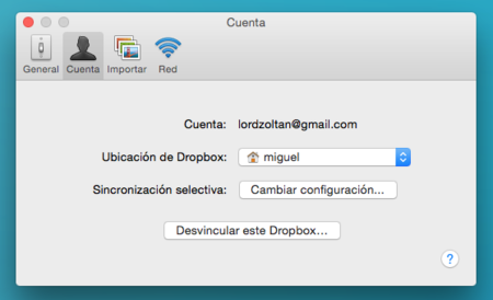 Dropbox Ajustes
