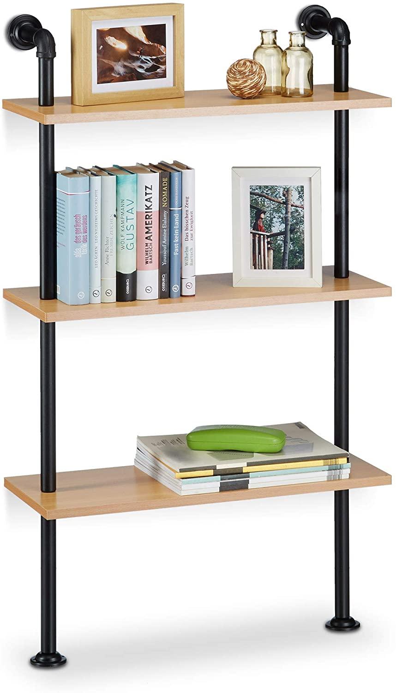 Relaxdays Librería, Tres estantes, Industrial, Moderna, Vintage, Retro