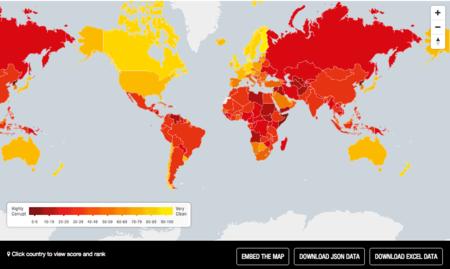 ¿Cuáles son los países más corruptos del mundo? Este mapa interactivo te lo dice