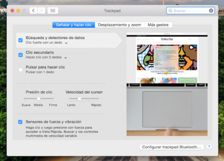 Applesfera Trackpad Force Touch Preferencias
