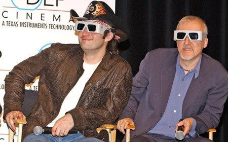 Robert Rodriguez y James Cameron con gafas 3D