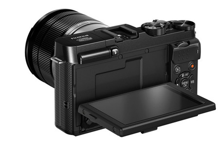 Fujifilm X-A1 black vista trasera