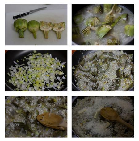 elaboración del risotto trufado de alcachofa