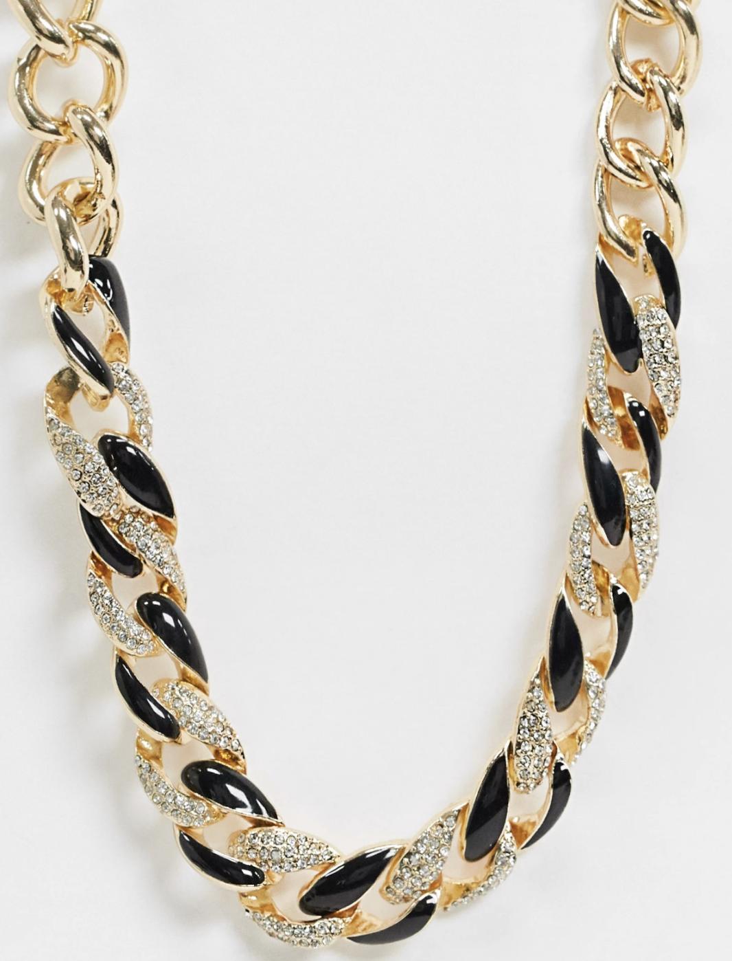 Collar con cadena en mezcla de negro y dorado de ASOS DESIGN