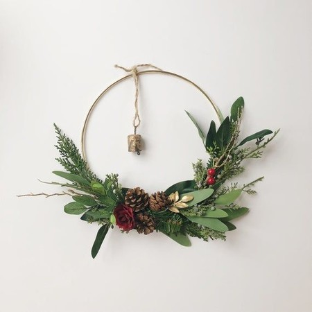 Minimalist Holiday Hoop Wreath