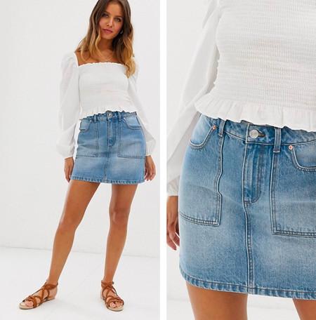 fab245e8d Levi's Front Detailed Skirt, Falda para Mujer, Azul (Indigo Velvet 0) 32