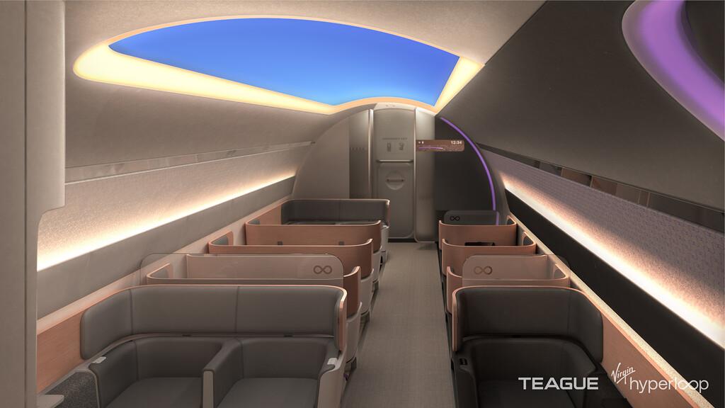 Así es como Virgin Hyperloop imagina el futuro de sus cápsulas: carga inalámbrica, mucho LED y un sistema de sonido propio como guía