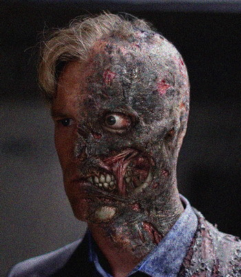 Aspecto de Dos Caras en 'El Caballero Oscuro' ('The Dark Knight')