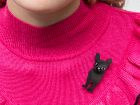 Tatty Devine Battersea French Bulldog Brooch Necklace