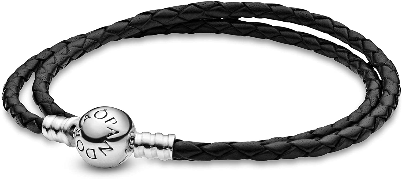 Pandora Moments 590745CBK-D2 - Pulsera de piel negra con doble vuelta, plata de ley