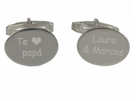 Gemelos de plata grabados para felicitar a papá en su día