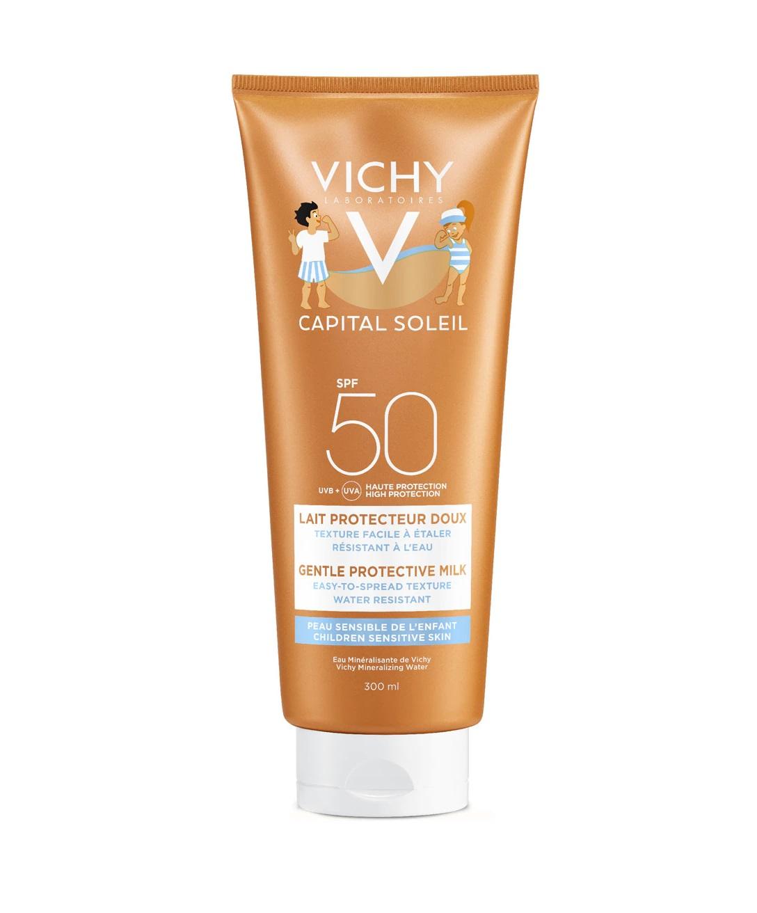Leche con protección solar SPF50 para piel sensible infantil de Vichy