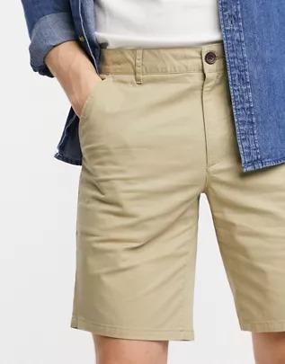 Shorts chinos color arena de algodón orgánico Hawk de Farah