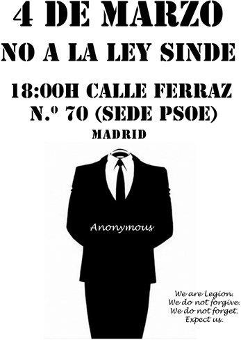 Anonymous lleva su protesta contra la Ley Sinde a las sedes del PSOE
