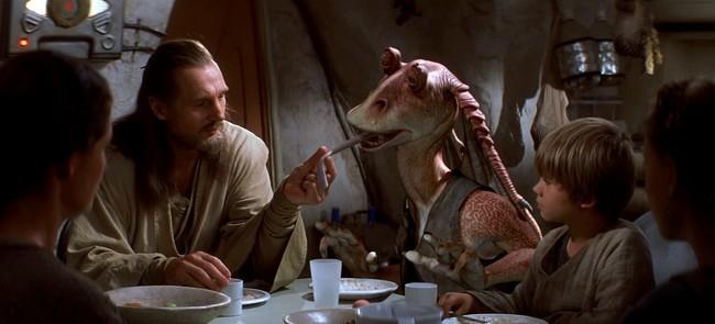 Liam Neeson y Jar Jar Binks
