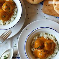 Albóndigas de calabaza al curry de manzana y piña. Receta para impresionar
