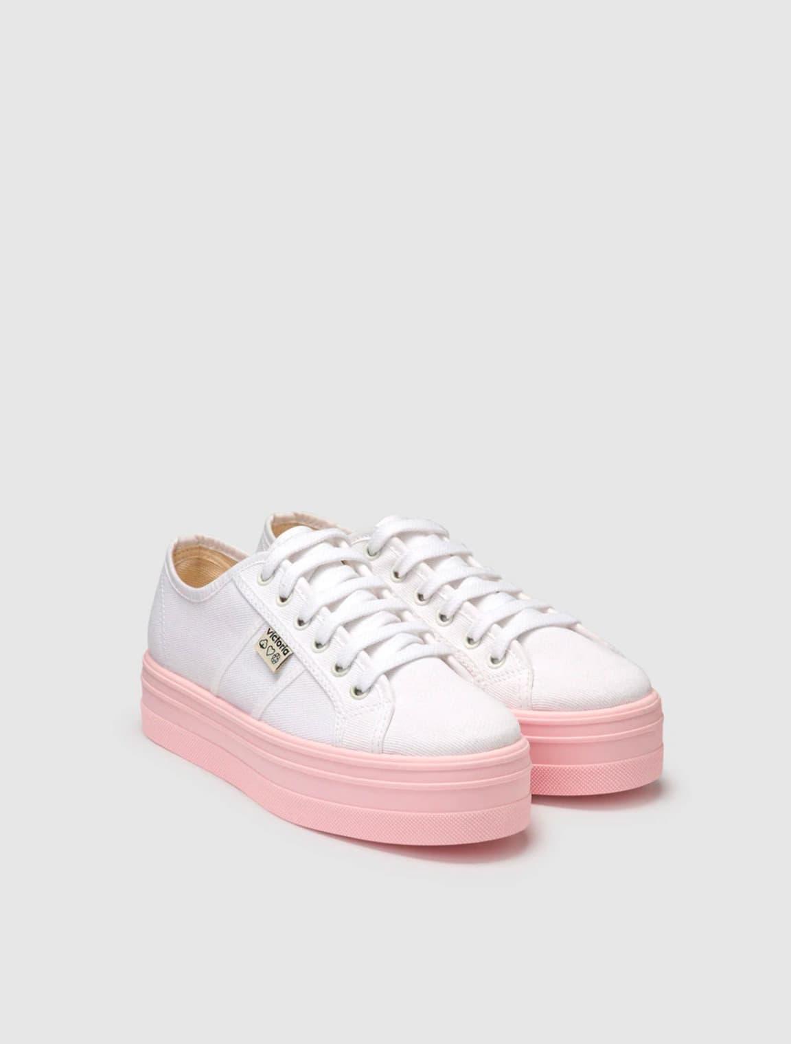 Zapatillas de lona de niña Victoria con plataforma rosa