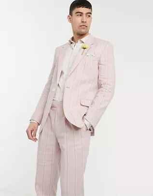 Chaqueta de traje de corte slim de algodón elástico y lino a rayas blancas y rosas de ASOS DESIGN wedding