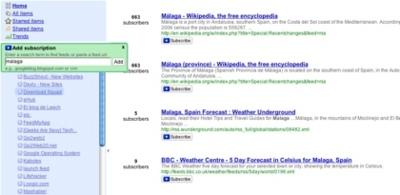 Google Reader muestra el número de suscriptores de cada feed