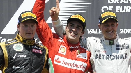Raikkonen Alonso Schumacher Valencia F1 2012