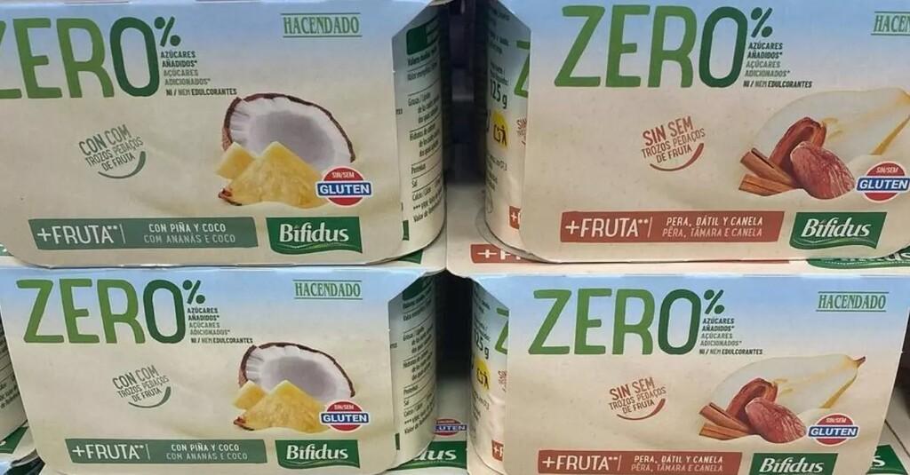 Yogur bifidus zero% con fruta Hacendado de Mercadona. Análisis nutricional.