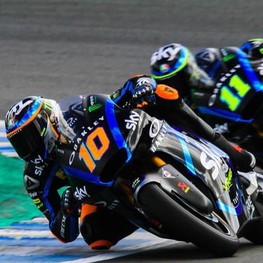 Luca Marini en Moto2 y Gabriel Rodrigo en Moto3 destacan en el primer día de test de Jerez