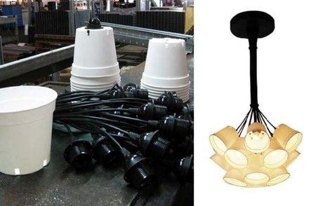 Lámparas hechas con macetas