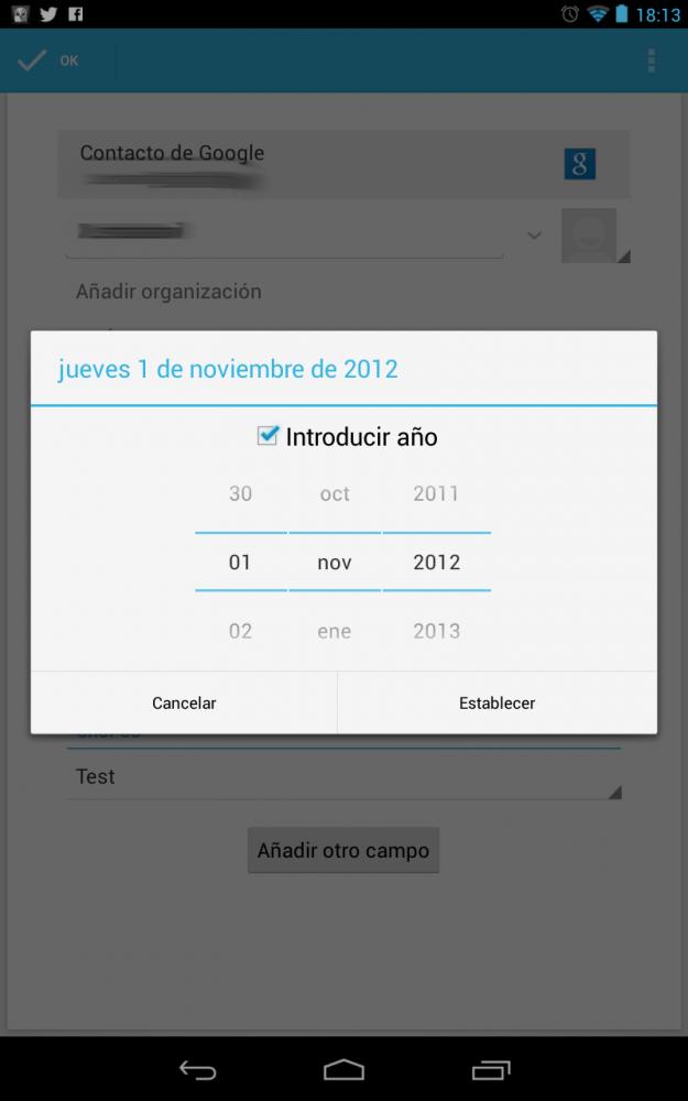 Contactos sin diciembre en Android
