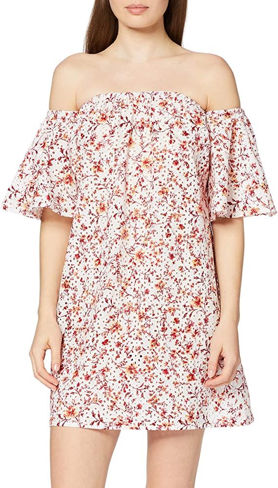 Marca Amazon - find. Vestido Corto con Hombros al Aire de Flores Mujer