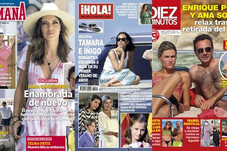 El nuevo 'Kiki' que ha echado Sara Carbonero, la escapada 'deluxe' de Tamara Falcó con Íñigo Onieva y el yate donde Ana Soria y Ponce pasean su amor: estas son las portadas del miércoles 7 de julio