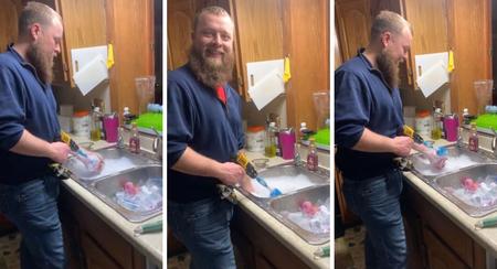 El truco viral de un padre de trillizos para lavar los biberones de sus bebés