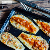 Berenjenas gratinadas con salsa de jitomate. Receta