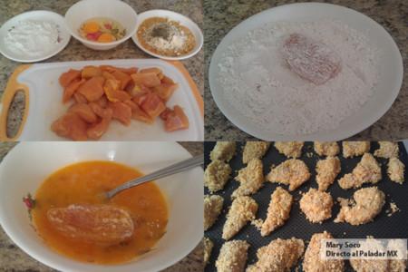 Nuggets de pollo con cornflakes y parmesano. Receta