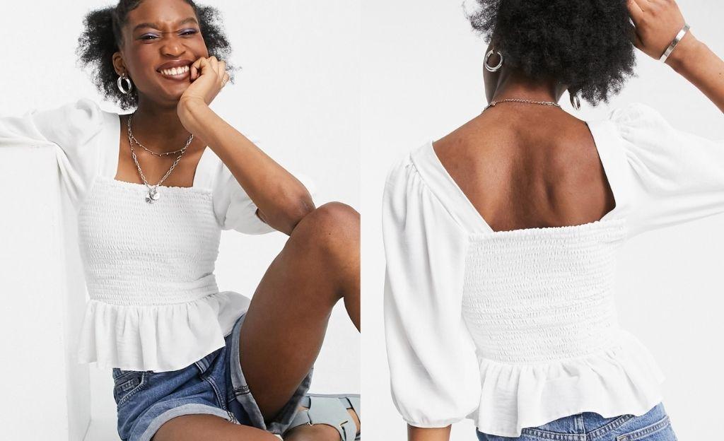 Blusa blanco hueso con corpiño fruncido y mangas voluminosas de New Look