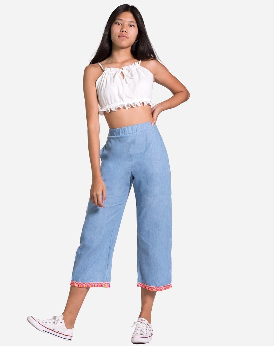 Pantalones culotte denim con cenefa en el bajo de The Are