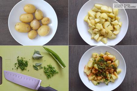 Ensalada de patata y langostinos con vinagreta de lima