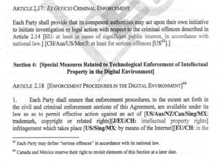 El texto filtrado de ACTA sigue contemplando la prisión para proteger los derechos de autor