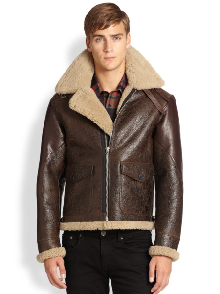 Burberry Brit Brown Ormsby Leather Shearling Aviator Jacket Product 1 22264866 0 658605234 Normal