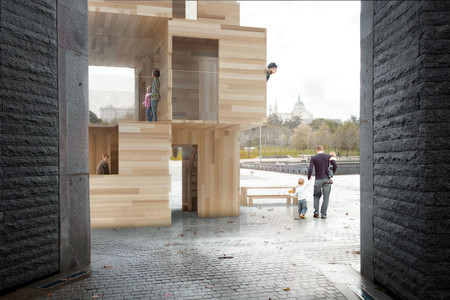 pabellón de madera en Madrid Rio
