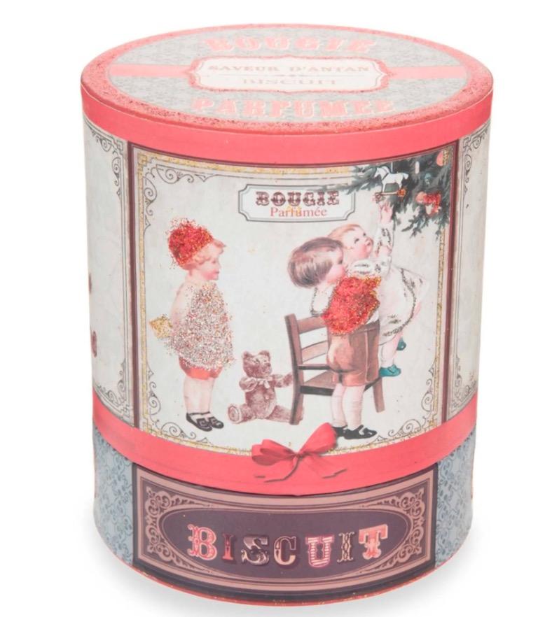 Vela de Navidad perfumada de cristal con estampado Biscuit